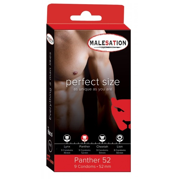 Malesation Panther kondomer - 52 mm (M) - 9-pak